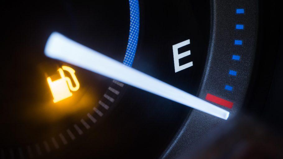 Empty fuel warning light in car dashboard